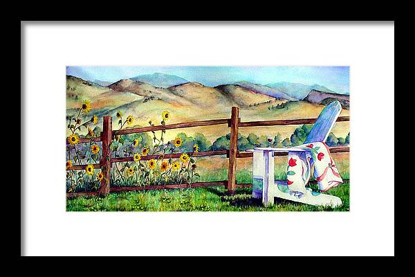Adirondack Chair Framed Print featuring the painting Attitude Adjustment by Mary Giacomini