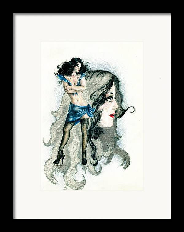 Figure Framed Print featuring the drawing Attitude by Scarlett Royal