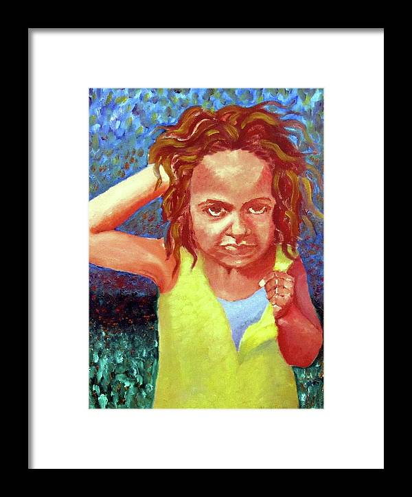 Portrait Framed Print featuring the painting Attitudinal by Alima Newton