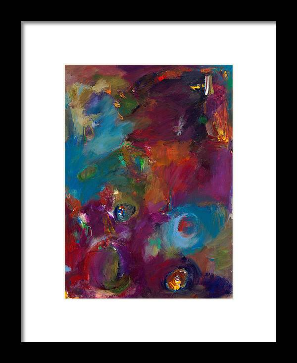 Abstract Expressionistic Artwork Framed Print featuring the painting Aubergine Mist by Johnathan Harris