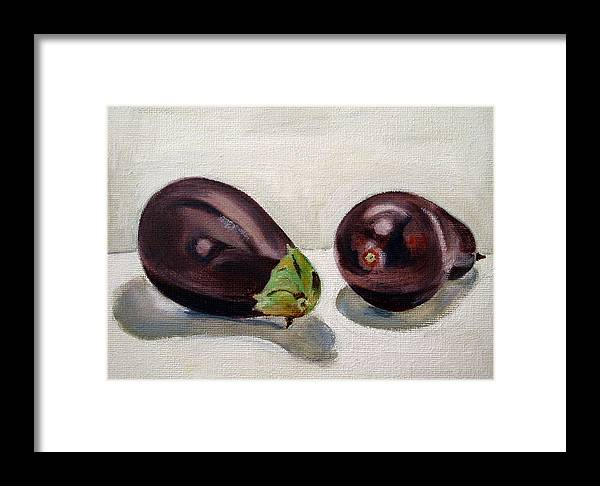 Still-life Framed Print featuring the painting Aubergines by Sarah Lynch