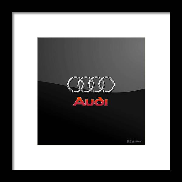 'wheels Of Fortune' Collection By Serge Averbukh Framed Print featuring the photograph Audi 3 D Badge On Black by Serge Averbukh