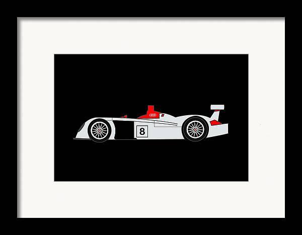 Audi R8 Framed Print featuring the digital art Audi R8 Le Mans by Asbjorn Lonvig