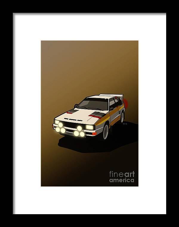 Car Framed Print featuring the digital art Audi Sport Quattro Ur-quattro Rally Poster by Monkey Crisis On Mars