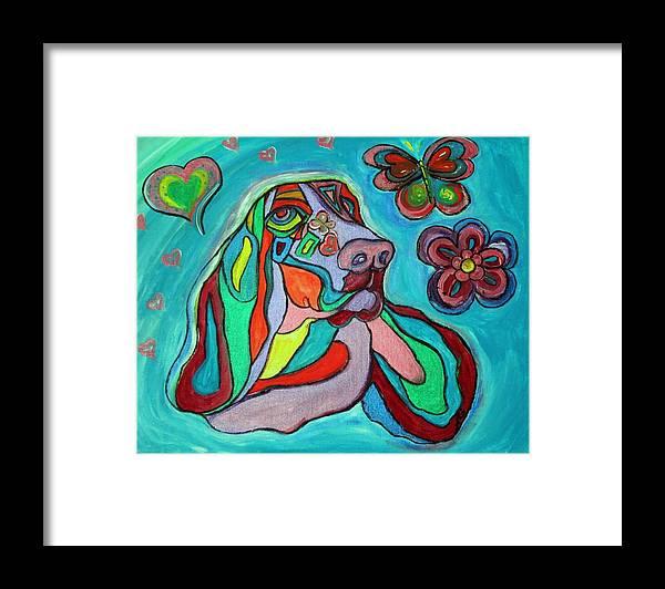 Basset Hound Framed Print featuring the painting Audrey Basset Hound by Alma Yamazaki