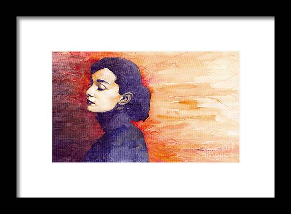 Watercolour Framed Print featuring the painting Audrey Hepburn 1 by Yuriy Shevchuk