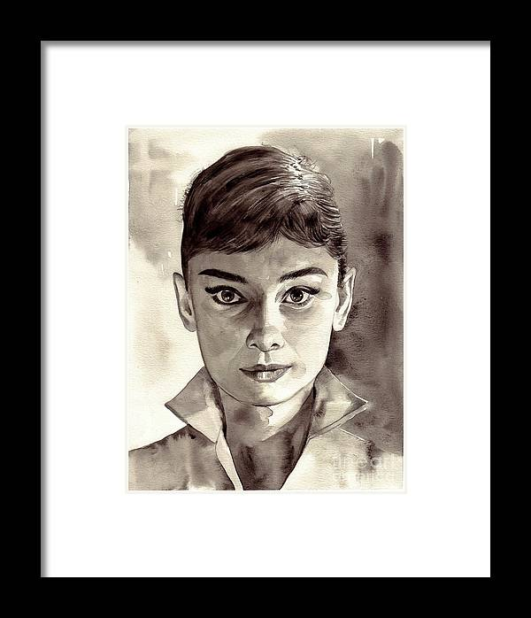 Audrey Hepburn Black And White Framed Print by Suzann\'s Art