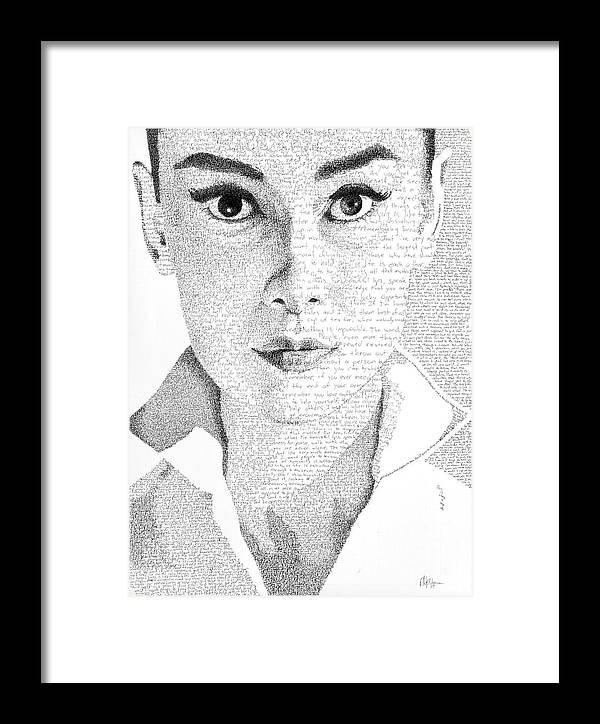 Audrey Hepburn In Her Own Words Framed Print by Phil Vance