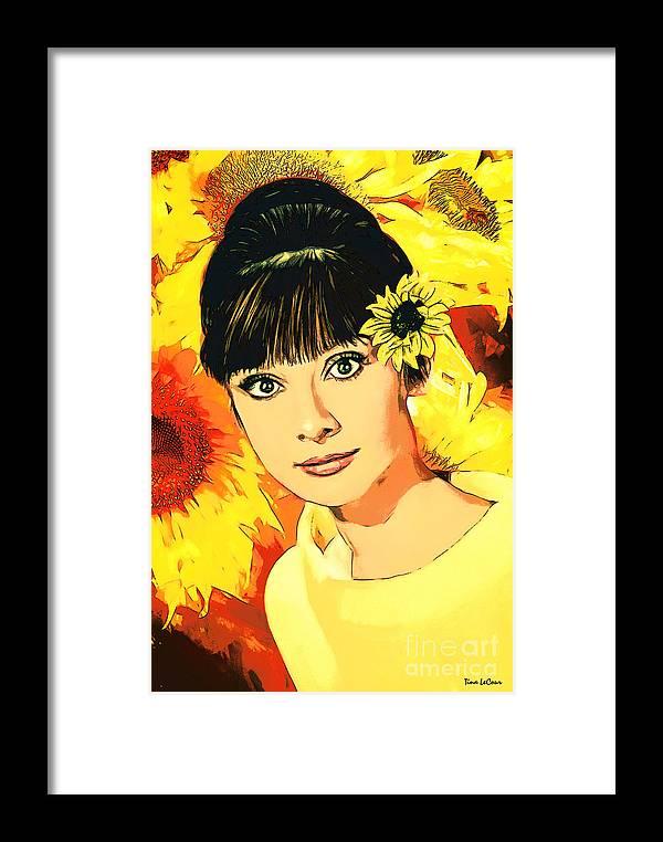 Audrey Hepburn Framed Print featuring the digital art Audrey Hepburn by Tina LeCour