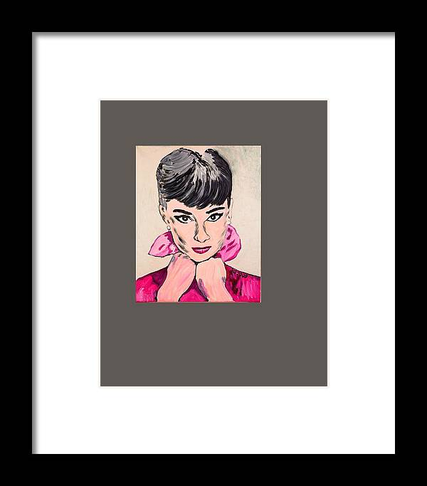 Portrait Framed Print featuring the painting Audrey Hepburn by Valerie Ornstein