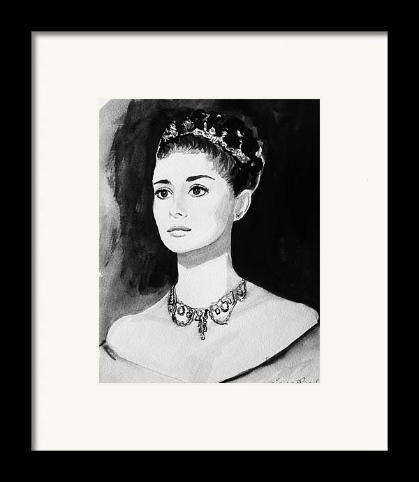 Audrey Hepburn Framed Print featuring the painting Audrey by Laura Rispoli