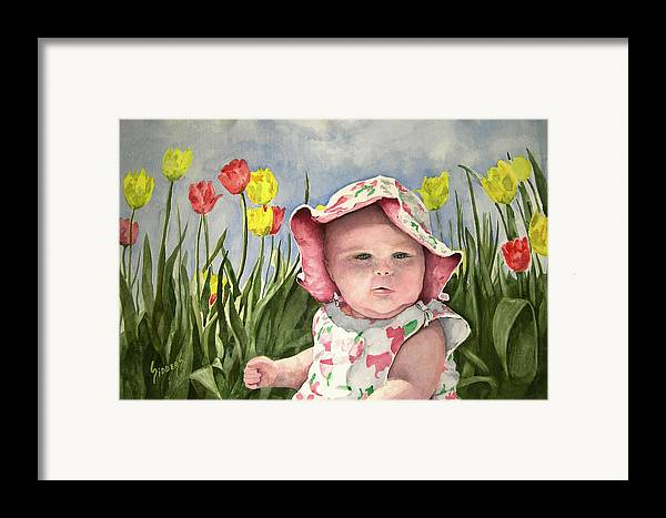 Kids Framed Print featuring the painting Audrey by Sam Sidders