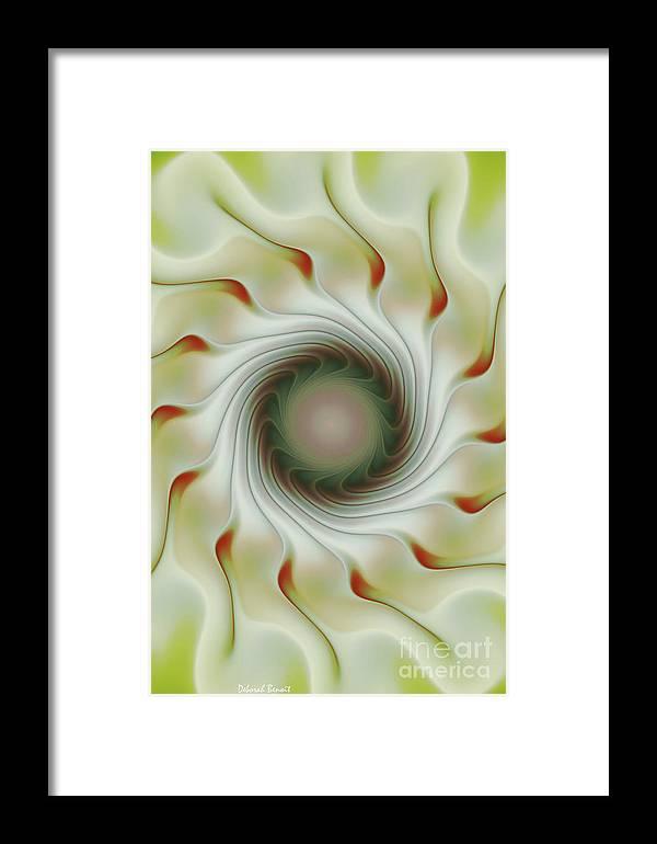 Fractal Art Framed Print featuring the digital art Auger Wheel Spin by Deborah Benoit