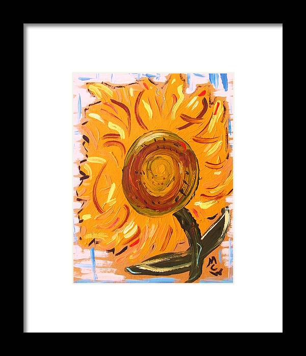 Sunflower Framed Print featuring the painting August 7 Late Day Sunflower by Mary Carol Williams