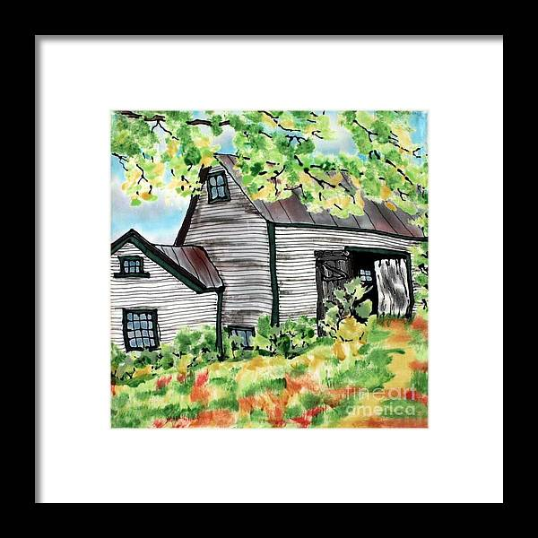 Silk Painting Framed Print featuring the painting August Barn by Linda Marcille
