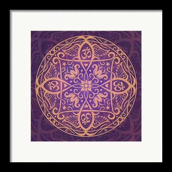 Mandala Framed Print featuring the digital art Aum Awakening Mandala by Cristina McAllister