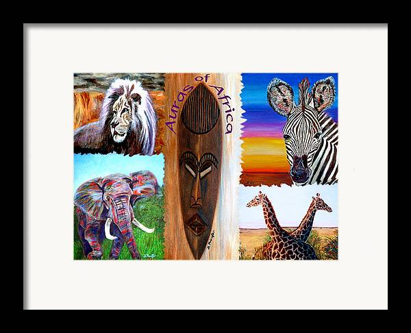 Africa Framed Print featuring the painting Auras Of Africa by Donna Proctor