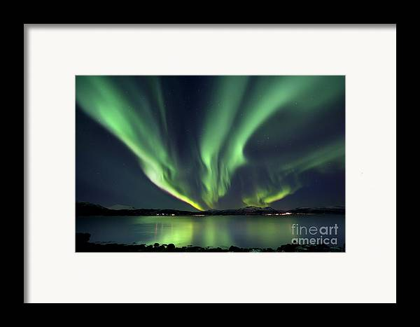 Aurora Borealis Framed Print featuring the photograph Aurora Borealis Over Tjeldsundet by Arild Heitmann