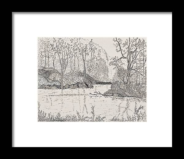 River Framed Print featuring the drawing Ausable River At Rock Glen by Peggy King