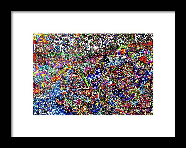 Australian Beach Paintings Framed Print featuring the painting Aussie Culture by Karen Elzinga