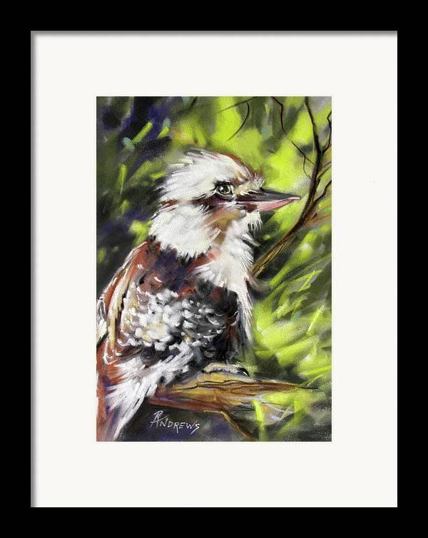 Kookaburrra Framed Print featuring the painting Aussie Joker by Rae Andrews