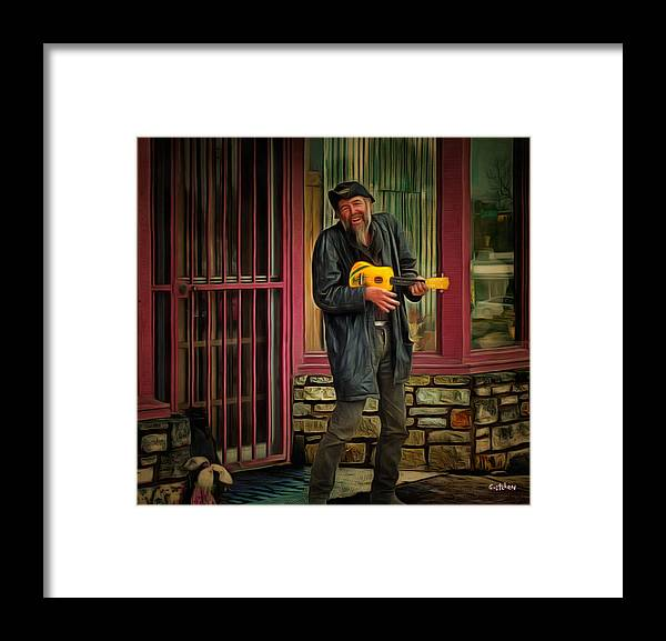 Music Framed Print featuring the photograph Austin Musician Plays The Blues by PhotoArt By Gretchen