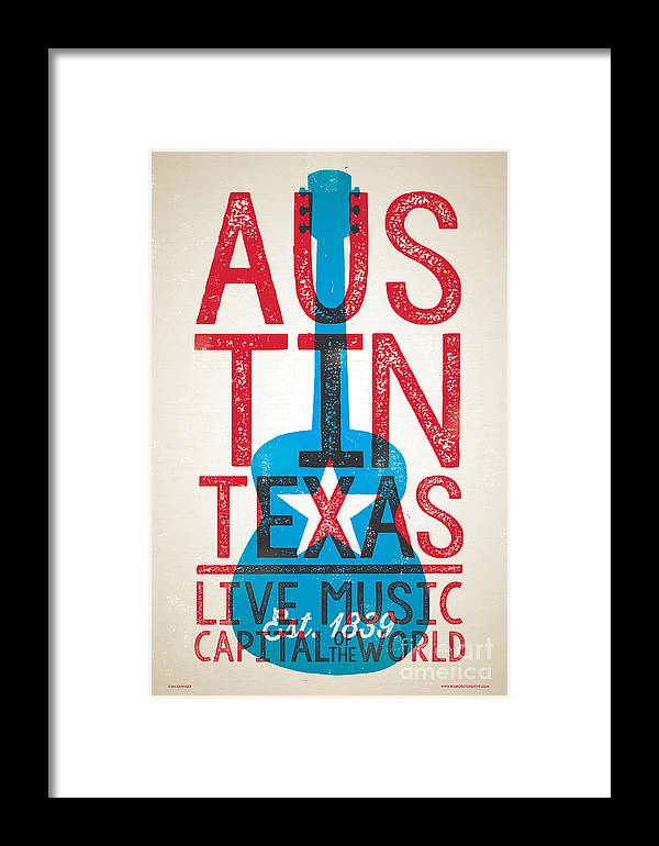 Guitars Framed Print featuring the digital art Austin Poster - Texas - Live Music by Jim Zahniser
