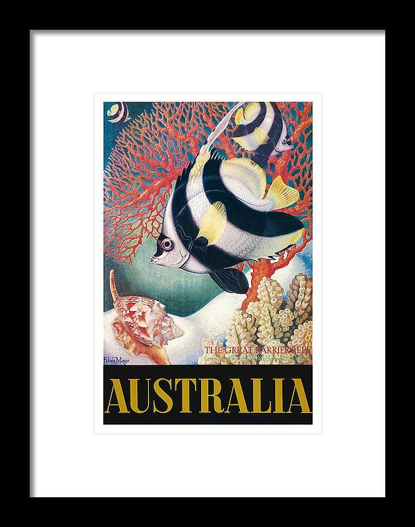 Australia Great Barrier Reef Vintage World Travel Poster By Eileen Mayo  Framed Print