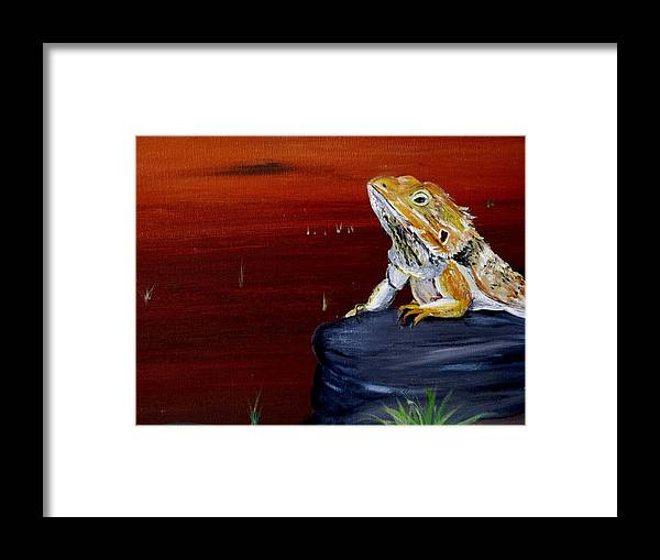 Reptile Framed Print featuring the painting Australian Central Bearded Dragon by Joanne Seath