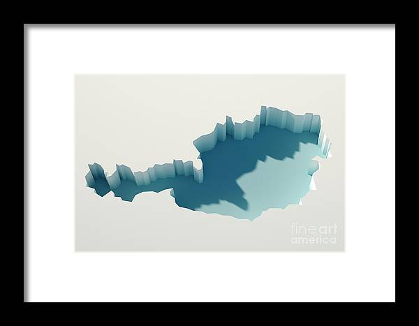 Cartography Framed Print featuring the digital art Austria Simple Intrusion Map 3d Render by Frank Ramspott