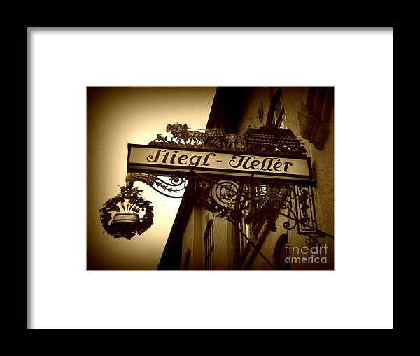Sign Framed Print featuring the photograph Austrian Beer Cellar Sign by Carol Groenen
