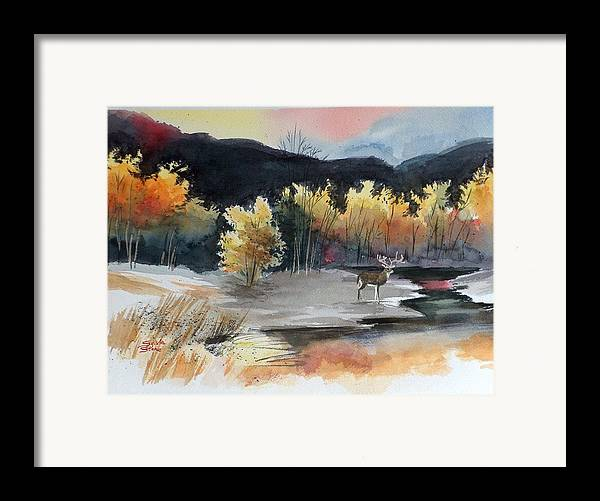Deer Framed Print featuring the painting Autimn Buck by Sylvia Stone