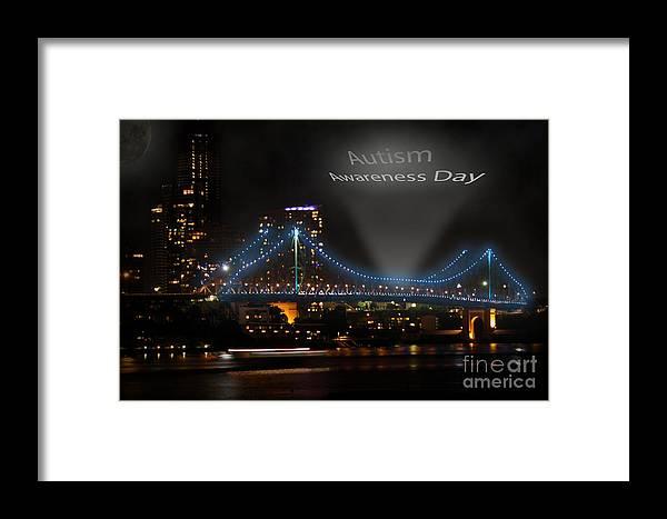 Brigde Framed Print featuring the digital art Autism Awareness Day by Tristan Spicer