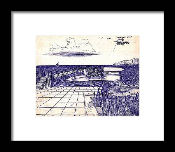 Automarino Framed Print featuring the painting Auto Acuatico by Cleofas Orozco Blancarte
