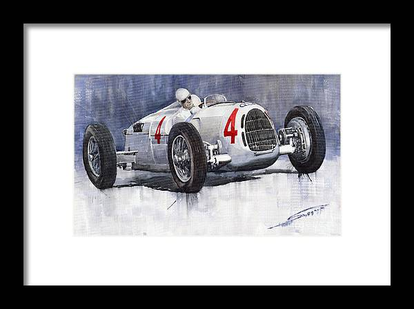 Auto Framed Print featuring the painting Auto Union C Type 1937 Monaco Gp Hans Stuck by Yuriy Shevchuk