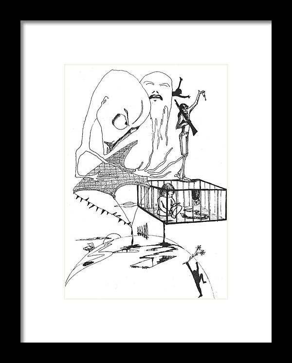 Drawing Pen Automatism Framed Print featuring the drawing Automatism by Veronica Jackson