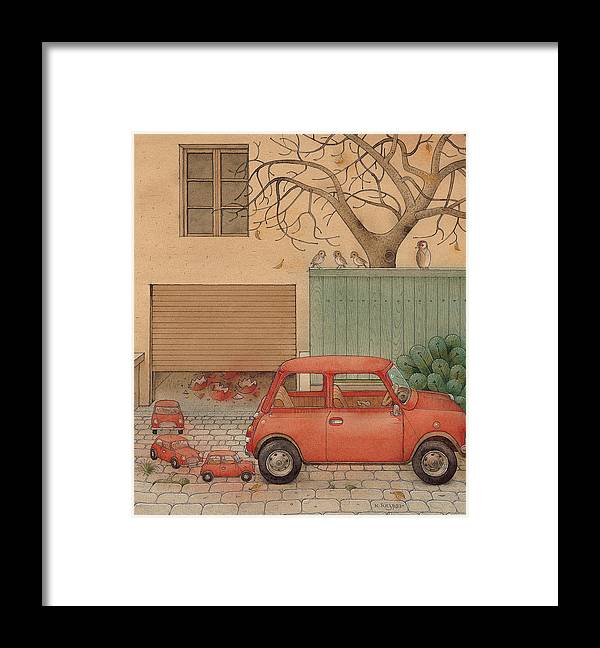 Car House Automobile Egg Red Tree Framed Print featuring the painting Automobile by Kestutis Kasparavicius