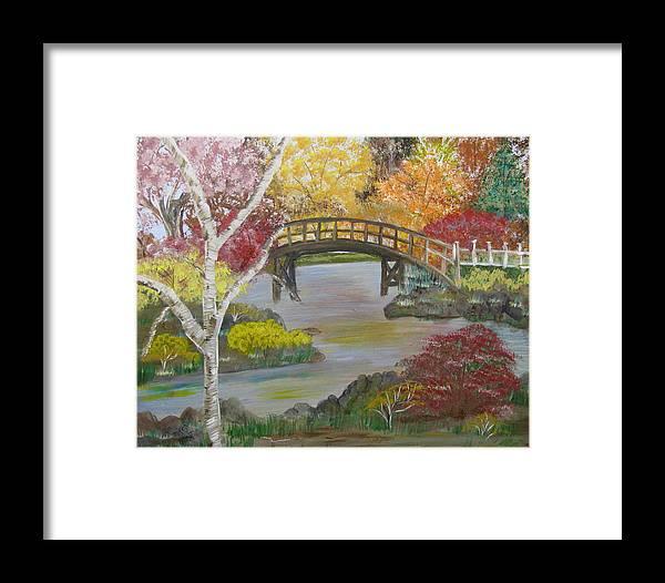 Landscape Framed Print featuring the painting Autum Bridge by Mikki Alhart