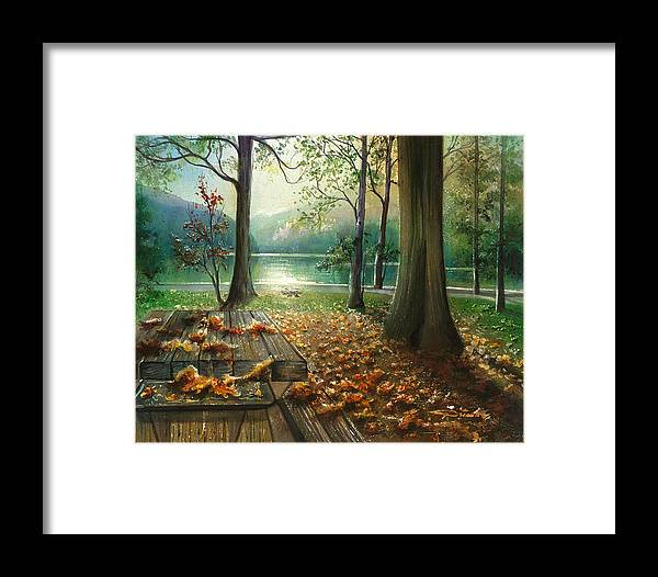 Landscape Framed Print featuring the painting Autum Splendor Bunzen Lake by Dumitru Barliga