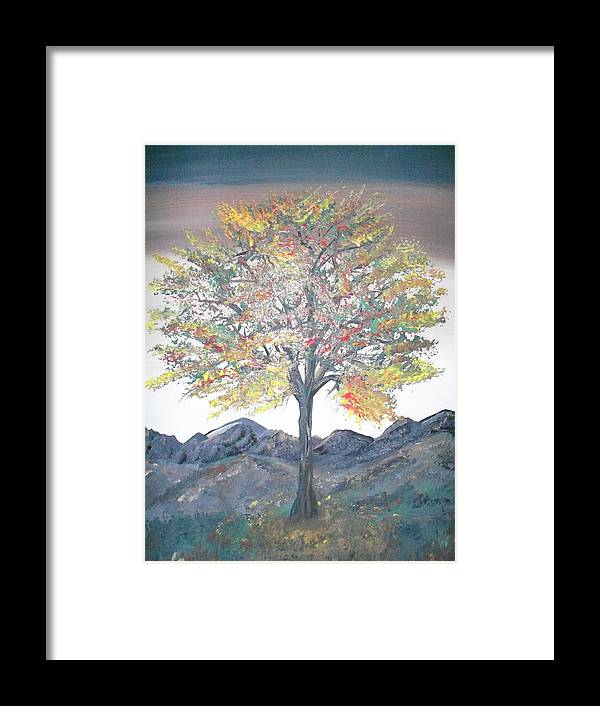 Landscape With Hills And Tree Framed Print featuring the painting Autum Tree by Teresa Nash