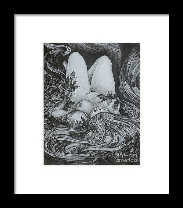 Fantasy Framed Print featuring the drawing Autumn 2 by Anna Duyunova