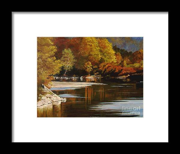Scene Framed Print featuring the painting Autumn Along The Stillaguamish by Suzanne Schaefer