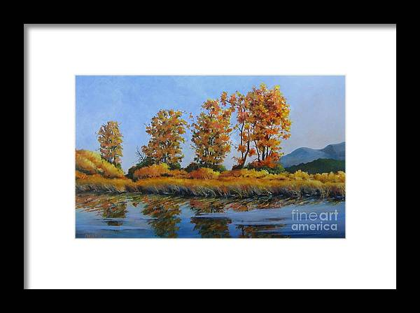Landscape Framed Print featuring the painting Autumn At Fraser Valley by Marta Styk