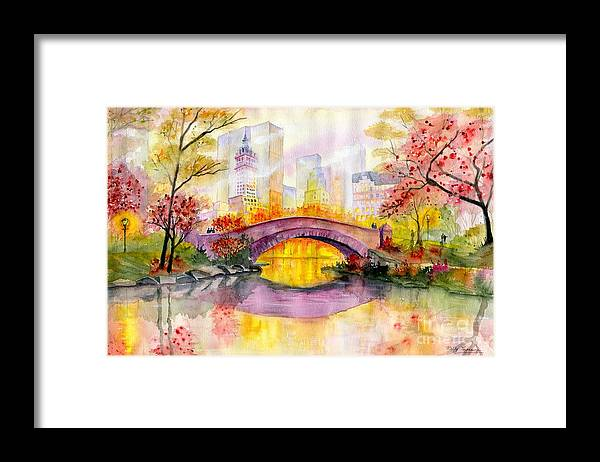 Autumn At Gapstow Bridge Central Park Framed Print featuring the painting Autumn at Gapstow Bridge Central Park by Melly Terpening