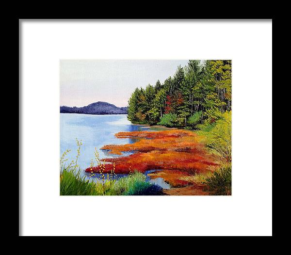 Maine Nature Oil Paintings Original Art Framed Print featuring the painting Autumn Bay Marsh by Laura Tasheiko