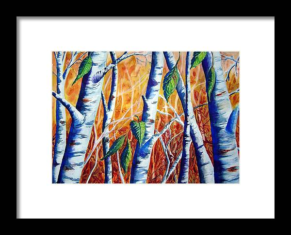 Autumn Birch Trees Framed Print featuring the painting Autumn Birch by Joanne Smoley