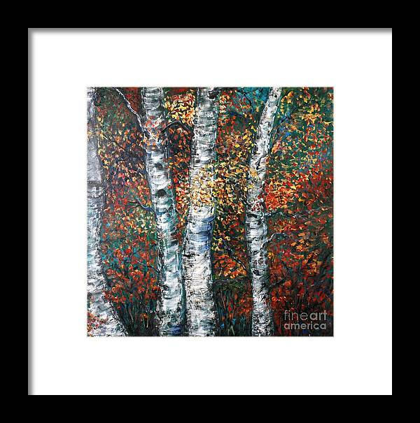 Birch Framed Print featuring the painting Autumn Birch by Nadine Rippelmeyer