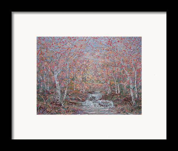 Landscape Framed Print featuring the painting Autumn Birch Trees. by Leonard Holland