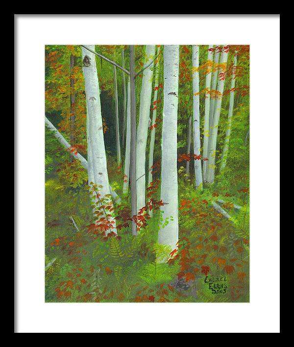 Landscape Framed Print featuring the painting Autumn Birches by Laurel Ellis