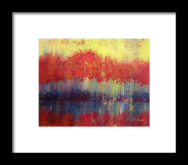 Abstract Framed Print featuring the painting Autumn Bleed by Ruth Palmer